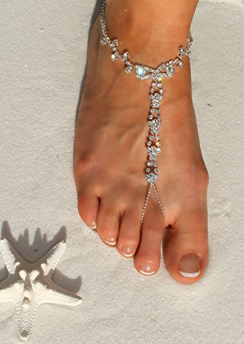 Luxurious Sandals Elegant Crystal Sparkling Anklet Clear Beach Rhinestone Wedding Themed Design Barefoot 8dBqRw7x8