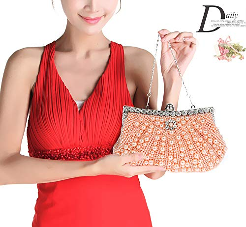 Beige EDLUX Satin Beads Magnetic 5 Bag PVC Evening Buckle Handbag with Women Bag 23 Shoulder Ladies 13cm Champagne for qqwt7S
