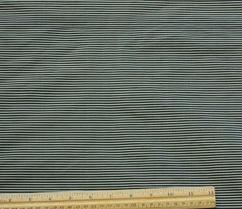 (Gold & Black Narrow Stripes, 100% Silk Dupioni Shantung Fabric, By The Yard, 44