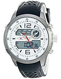 U.S. Polo Assn. Sport Men's US9506 Analog-Digital Display Silver-Tone Watch with Textured Band