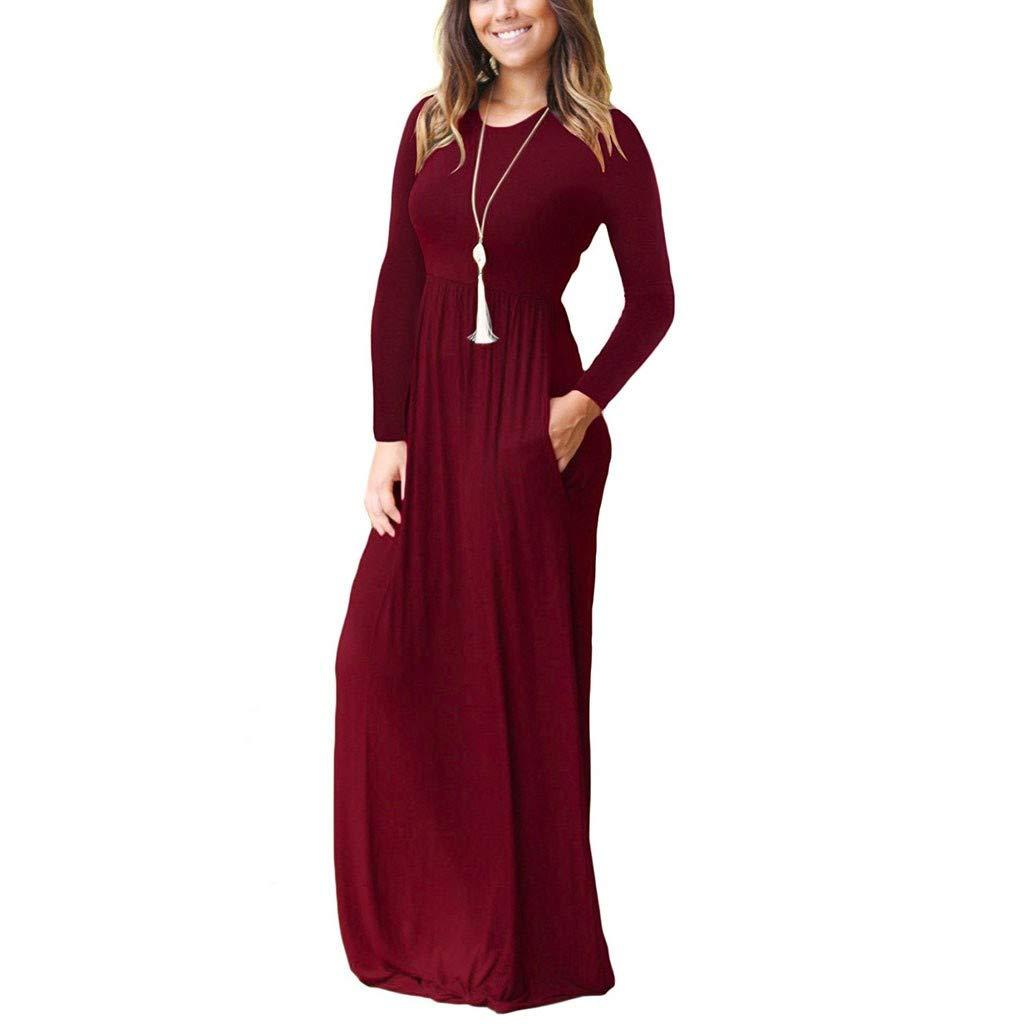 Lulupi Bohemian Abito Lungo Donna Elegante Cerimonia Tinta Unita Vestito A Pieghe Vita Alta Girocollo Manica Lunga Festa Vacanza