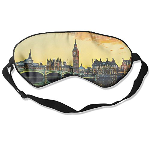 Teesofun Comfortable Sleep Eyes Masks UK London Bridge Painting Pattern Sleeping Mask For Travelling, Night Noon Nap, Mediation Or Yoga -