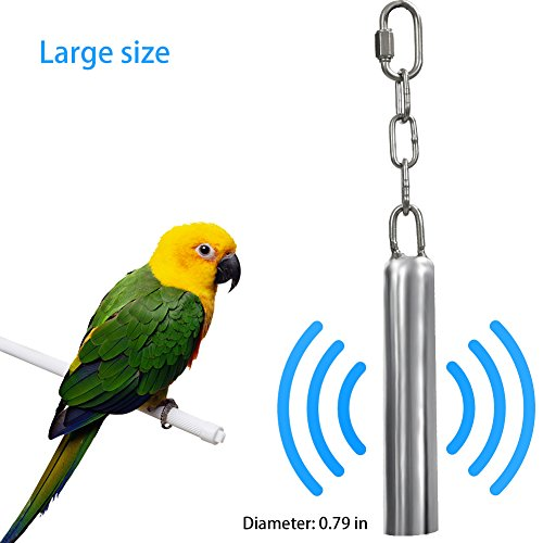 (Bird Toys Stainless Steel Hanging Bell Bird Parrot Cage Bite Toy Squirrel Parrot Pigeon Swing Stand Toys Bells (Large))