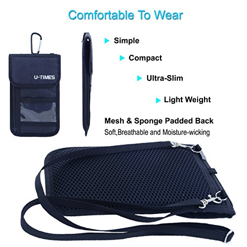 UTIMES Travel Passport Neck Bag RFID Blocking Cell Phone Wallet Pouch With Additional Carabiner-Ultra Slim & Light Weight(Black) by UTIMES (Image #4)