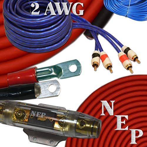 2 Gauge Amp Kit, 20% Oversized 2 AWG Power & Ground Cable, 175 Amp ANL Fuse, 10 AWG Speaker Wire & More