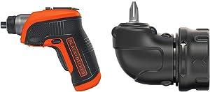 BLACK+DECKER 4V MAX Cordless Screwdriver with Right Angle Attachment (BDCS30C & BDCSRAA)