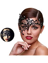 Masquerade Mask for Women Shiny Rhinestone Venetian Party Prom Ball Metal Mask