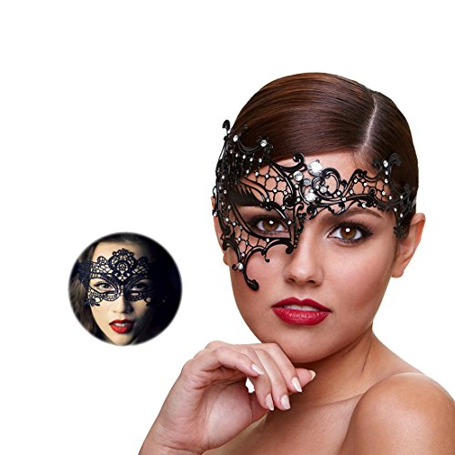 Masquerade Mask for Women Ultra Light Shiny Metal Rhinestone Venetian Pretty Party Evening Prom Ball Mask Luxury Metal Mask Come with Free Lace Mask (Half Face) -