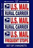 "Set of 3 U.S. Mail Delivery Magnetic Signs Rural Delivery Carrier Magnet 6""X12"" USPS"