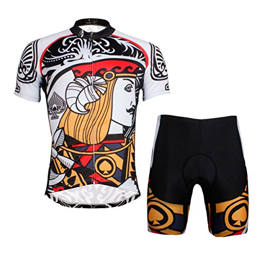 ILPALADINO Men's Cycling Jersey Clothing Set Short Sleeve Poker Pattern (L, Jack)