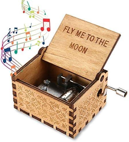 lesgos Caja de música de Madera 18 Notas y manivela, Caja Musical ...