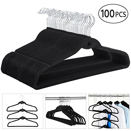 (go2buy Space Saving Cascading Velvet Suit Hangers Clothes Hangers,100-Pack,Black)