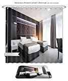 Minicoso Bath Two Piece Suit: Shower Curtains and Bath Rugs Modern Elegant Twin Room Interio Shower Curtain and Doormat Set