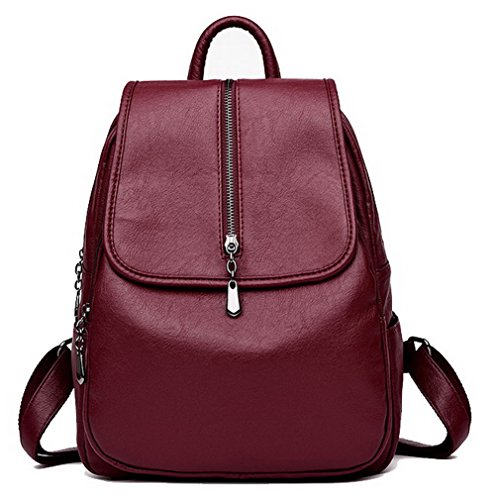 Tsmbh181631 Bags Aalardom Purple Casual Daypack Backpacks Shoulder Pu Burgundy Traveling Women Xx1Z1Owqf8