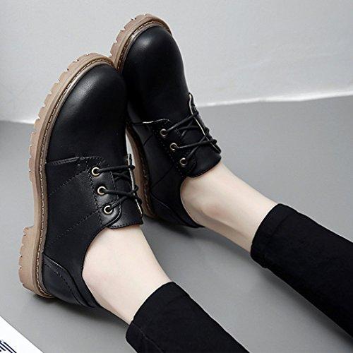 para 35 Británico Negro mujer Cuero Martin de Color Tamaño Estilo HWF Colegio Femenino Zapatos Negro Zapatos F46qdF