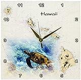 3dRose dpp_204889_1 Print of Hawaiian Islands Chart with Sea Turtle Wall Clock, 10 by 10″