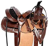 Acerugs Premium Western Tooled Leather Youth Children Ranch Roping Horse Pony Saddle TACK Set Package