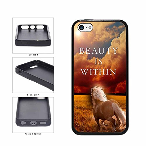 BleuReign(TM) Pretty Brown Horse Beauty Is Within TPU RUBBER Phone Case Back Cover Apple iPhone 5c (Iphone 5c Cases That Have Quotes)