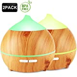 Oil Diffuser, Avaspot 2 Pack 250ml Wood Grain Essential Oil...