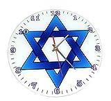 The Juicy Jew Shop Blue Judaica Glass Meditation Clock Star of David, Jewish Gifts Clock Home Décor (Blue Star)