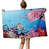 TUONROAD Kids Personalized Sea World Towel Swimming Sea Turtle Striped Zebras Sea Ocean Theme Towels for Girls Boys Toddler Kids Children 30''x60''