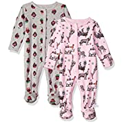 Rosie Pope Baby Girls 2 Pack Coveralls, Cupcakes/Animal, 6-9 Months