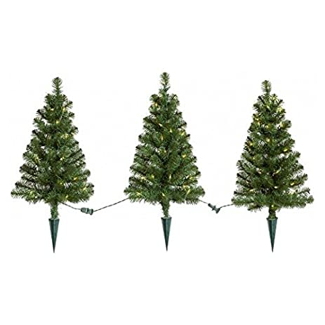 3pk 2ft prelit artificial christmas pathway trees alberta spruce clear lights wondershop