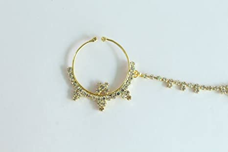 e8225c07a72 Amazon.com: Wedding Crystal Nose Ring Chain/Indian Bridal Nose Ring ...