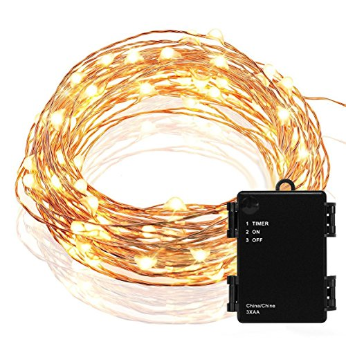 Kohree Micro 30 LEDs Christmas String Lights Battery Operated on 10 Ft Long Ultra Thin String Copper Wire For Seasonal Decorative Christmas, Holiday, Wedding, Parties With Timer Battery Box