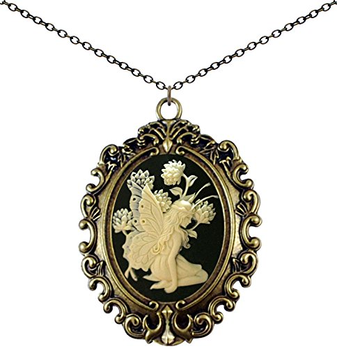 Yspace Antique Brass Necklace Cameo Big Pendant Jewelry 2 Chain Deluxe Pouch Gift (Butterfly ()