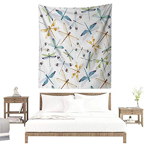 WilliamsDecor Polyester Tapestry Dragonfly Moth Butterfly Like Bugs in Watercolor Print Modern Minimalist Design Art Print 60W x 91L INCH Suitable for Living Room, Bedroom, Beach ()