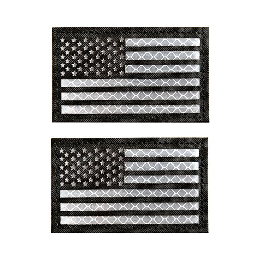 Baotu 2x3.5 Reflective Black US USA American Flag Morale Tactical Patches Hook-Fastener Backing (2 Pack)