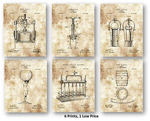 Wine Lovers Drawing Artwork - Set of 6 8 x 10 Unframed Patent Prints - Great Gift The Wine Tasting Room, Bar Cellar