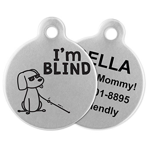 If It Barks - Engraved Pet ID Tags for Dogs - Personalized Stainless Steel Identification Tags - Custom Name Tag Attachment - Made in USA, Im Blind