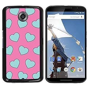 All Phone Most Case / Hard PC Metal piece Shell Slim Cover Protective Case Carcasa Funda Caso de protección para Motorola NEXUS 6 / X / Moto X Pro teal blue pink pattern heart love