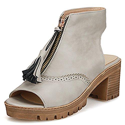 Fashion Heel - Zapatos con correa de tobillo mujer gris
