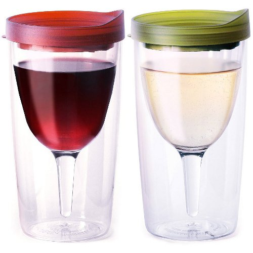 Vino2Go Merlot Red and Verde Green 10 Ounce Insulated Wine Tumbler With Drink-Through Lid, Set of 2