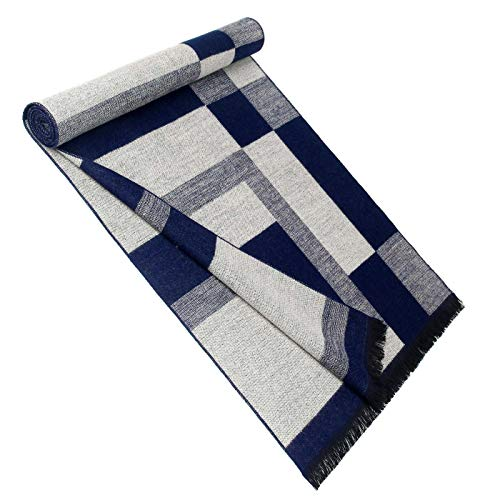 Men Cashmere Plaid Knitted Scarf Soft Warm Cashmere Feel Neckwear Men Business Fine Scarves Blue & Gray by Panegy (Image #7)