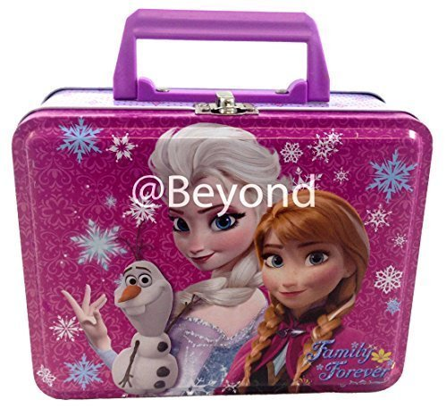 Frozen Elsa, Anna and Olaf Deluxe Purple Tin Lunch Box 7