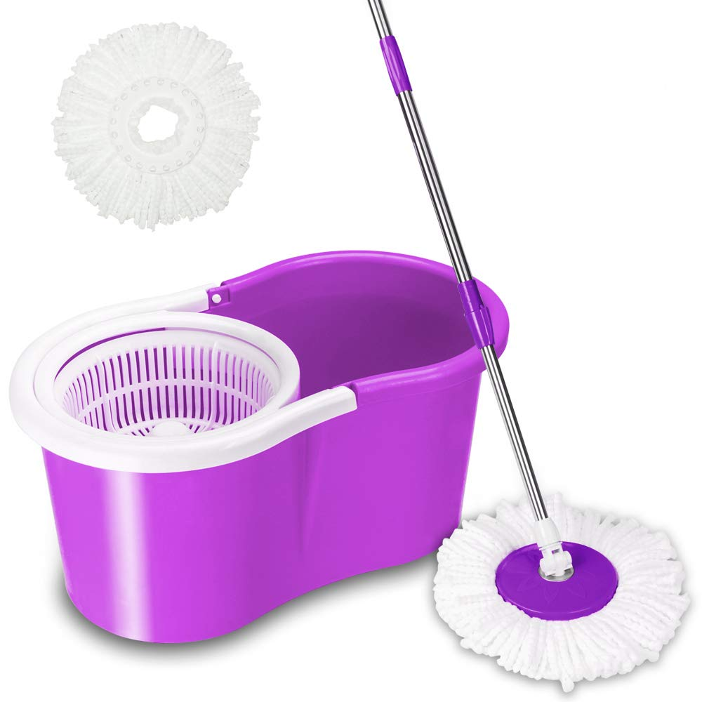Valuebox 360 Degree Spin Bucket System Mop with Extended Length Handle And 2 Microfiber Mop Heads, Spin Mop and Bucket Floor Cleaning System (bright purple)