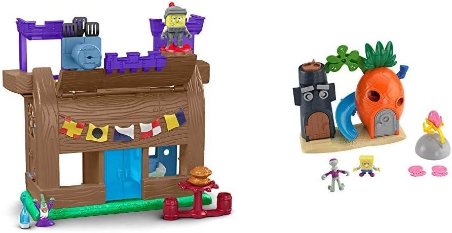 Fisher-Price Imaginext Spongebob Krusty Krab Kastle [Amazon Exclusive] & Imaginext Spongebob Bikini Bottom Playset, Preschool Toy for Kids 3 Years and Up, Amazon Exclusive
