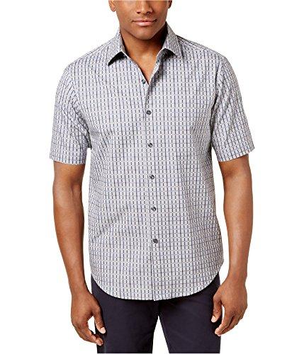 Tasso Elba Mens Grid-Pattern Button up Shirt Grey M -