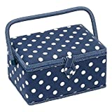 Sewing-Online MRM/32 White Polka Dot Print on Navy Medium Sewing Box 18x26x15cm