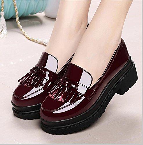 De High Pendientes Primavera Solo Zapatos 36 Casual Calzado Otoño Mujer Otoño 37 Femeninos Con Zapatos Gruesos Red 6Cm Heeled Bizcocho KHSKX Zapatos Y 4n6pw6