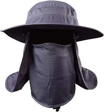 Chapéu de proteção solar UV PretyzOOM com proteção solar para o rosto para pesca ao ar livre, caminhadas, jardinagem, apicultura, cinza escuro
