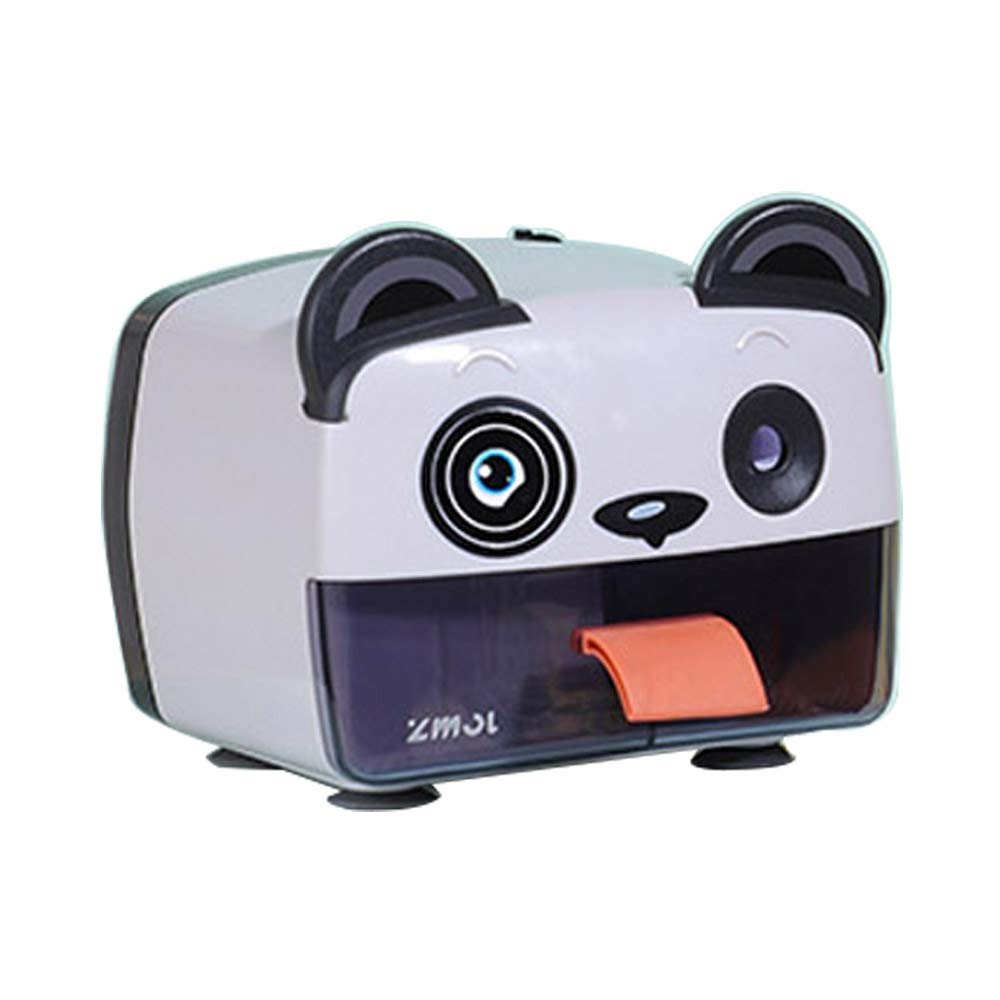 Electric Automatic Pencil Sharpener,Heavy-Duty Helical Blade Sharpeners, Auto-Stop Feature, USB,Battery Operated, for Home, Office, School, Artist, Students(6-8mm) Panda,White by C+Q
