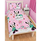 Disney Minnie Mouse Kids Girls Chic Reversible Single Duvet Cover Bedding Set (Twin Bed) (Pink)
