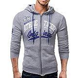 kaifongfu Mens Long Sleeve Hoodie Men Sweatshirt Jacket Coat Top(Gray,L)
