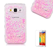 For Samsung Galaxy Grand Prime G530 Case [with Free Screen Protector],Funyye Flowing Liquid Bling Glitter Love Chip Design Transparent Soft TPU Crystal Clear Colourful Change Protective Back Case Cover Shell for Samsung Galaxy Grand Prime G530-Pink