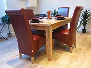 Solid Oak Extending Dining Table And Six Red, Black, Brown Or Cream Leather  Chairs Part 40